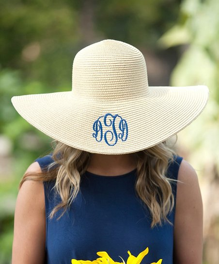 af6ae48e6163d Designs by Two Greek Sisters Natural Monogram Floppy Hat - Women ...