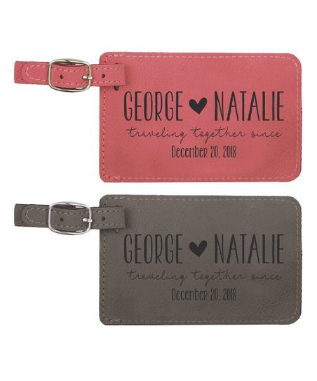 Stamp Out Online Pink Gray Traveling Together Personalized Luggage Tag Set