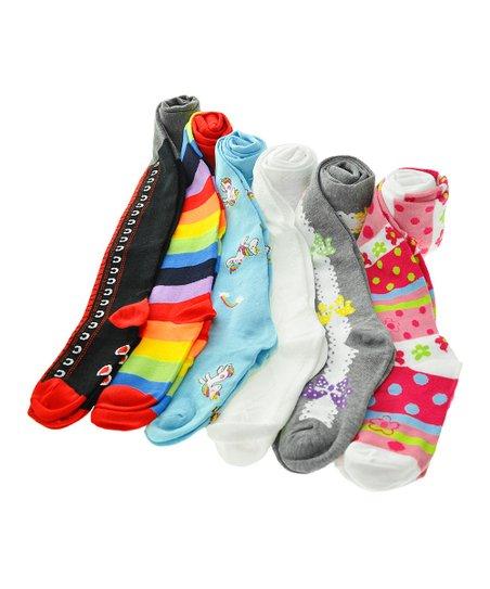 122e48eec90f8a love this product Aqua Unicorn Six-Pair Tights Set - Infant & Kids