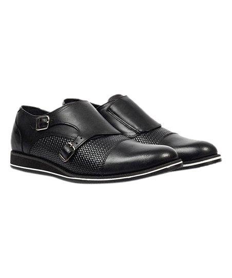 8d59e7f5e6 Jacks André Black Leather Double Monk-Strap Shoe - Men | Zulily