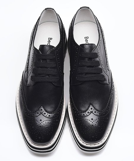 9da2845a6cd3 love this product Black   White Leather Stripe-Sole Platform Oxford - Women