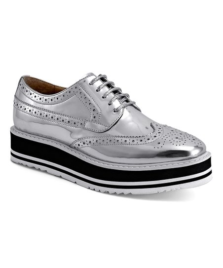 8eb4f47c9fd6 love this product Silver   Black Wingtip Leather Platform Oxford - Women