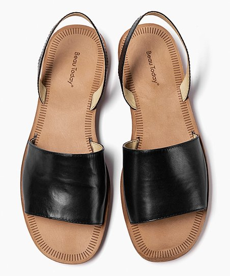 47ee083a867f Beau Black Leather Wide-Strap Slip-On Sandal - Women