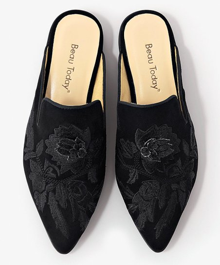 Black Suede Embroidered Mule - Women