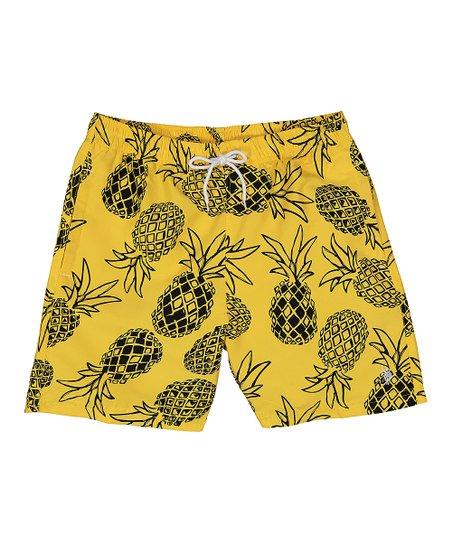 34c80d8acd U.S. Polo Assn. Yellow Pineapple Swim Trunks - Men | Zulily