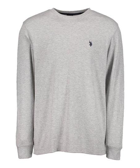 6fabe783 U.S. Polo Assn. Gray Logo Crewneck Thermal Long-Sleeve Tee - Men ...