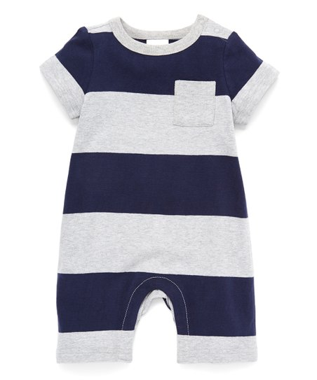 d616cbc6506 love this product Navy Stripe Short-Sleeve Romper - Infant