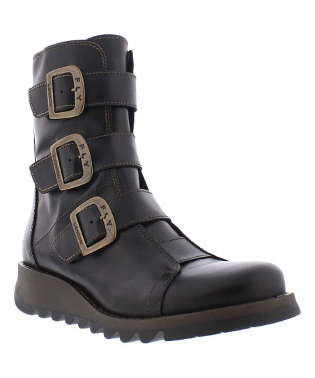 FLY London Black Scop Leather Boot