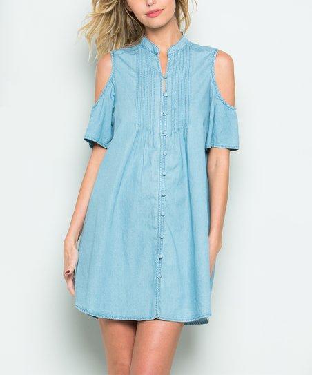 1ac23f78e09 CY Fashion Denim Blue Cutout Button-Up Tunic Dress - Women