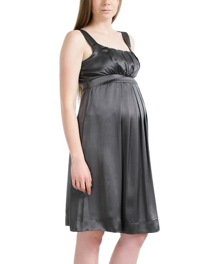 4970d8384e MOMO Maternity Charcoal Molly Pleated Silk Maternity Dress