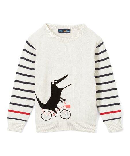 bdc34006340c Sophie   Sam Cream Stripe-Sleeve Cycling Croc Sweater