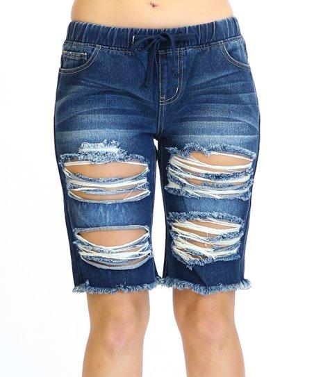 780f8dd701 American Bazi Dark Blue Distressed Denim Bermuda Shorts | Zulily