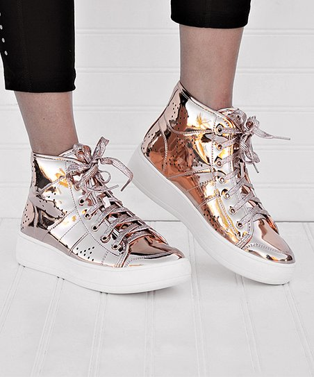 best service 73ebe 4f19f love this product Rose Gold Metallic Teresa Hi-Top Sneaker - Women