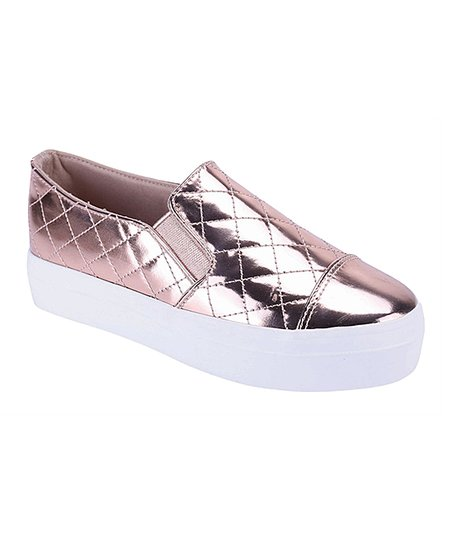 metallic quilted slip-on sneakers