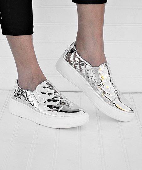Mata Shoes Silver Metallic Quilt Slip