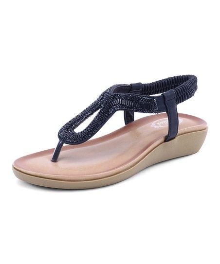 4b33a5957 Selina Black Embellished Twist Thong Sandal - Women