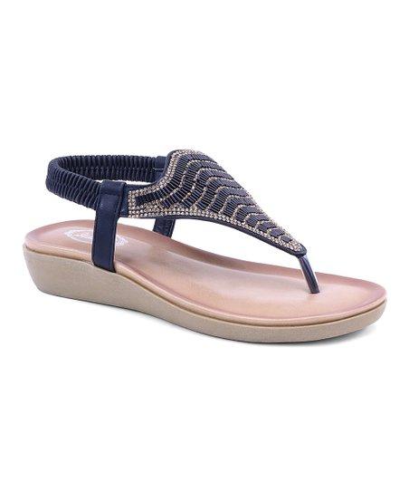 34abba6de Selina Black Embellished Slingback Thong Sandal - Women