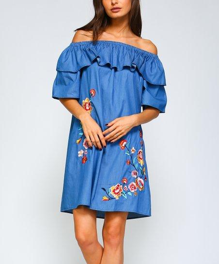 44dc6116091b4 VELZERA Denim Blue Floral Embroidered Off-Shoulder Dress - Women ...