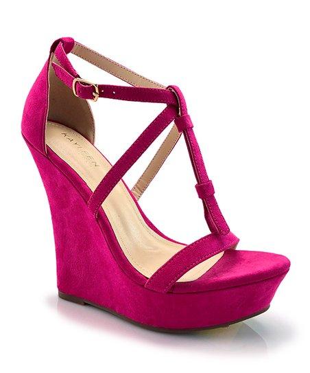 67a6f6cd60c ... kayleen fuchsia selia t strap wedge sandal women zulily ...