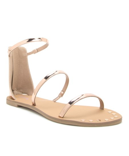 b24183ac4ac738 love this product Rose Gold Three-Strap Athena Sandal - Women