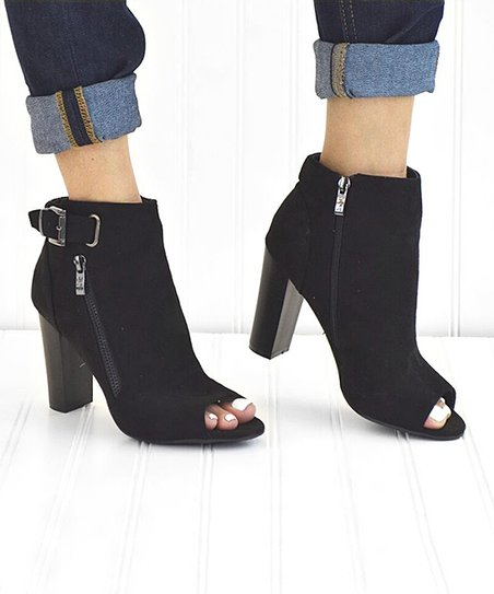 857c6d904a3 Mata Shoes Black Apple Peep-Toe Bootie - Women   Zulily