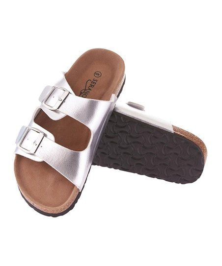 e69602514bdc love this product Silver Dual-Buckle Sandal - Women
