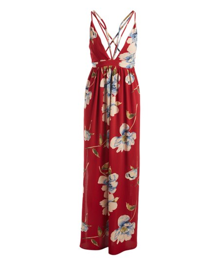 44a982821efe love this product Red Floral Sleeveless Deep V-Neck Maxi Dress - Women