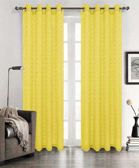 Bright Yellow Sabrina Sheer Stripe Curtain Panel Set Of Two
