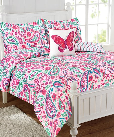 Mytex Pink Butterfly Four-Piece Comforter Set | Zulily