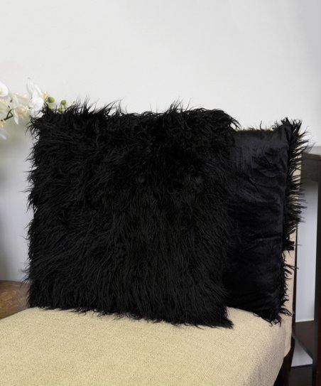 Sweet Home Collection Black Faux-Fur Throw Pillow - Set of Two  1febe0b33d
