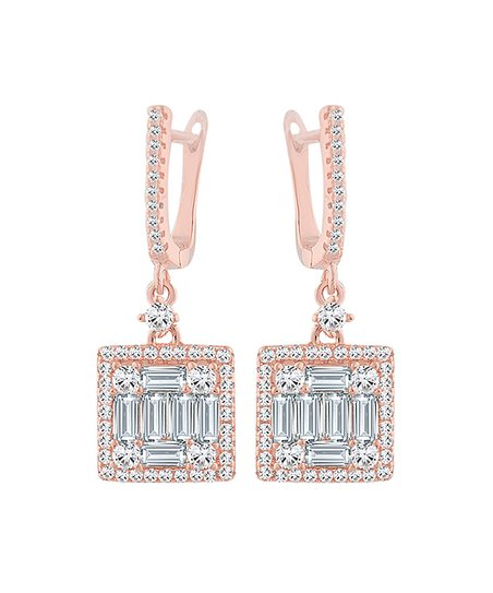 08919e16fe3 Elegant Cubic Zirconia & Rose Gold-Plated Square Drop Earrings
