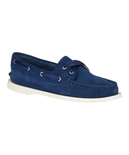 love this product Navy Authentic Original Satin-Lace Leather Boat Shoe -  Women 16a8f7a75
