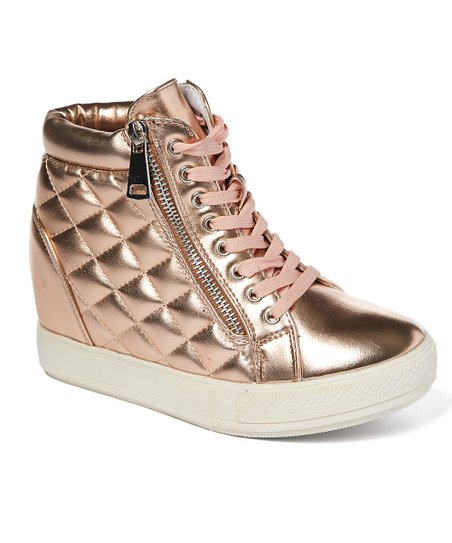 Fashion Sneakers Rose Gold Zip-Up Wedge Sneaker - Women
