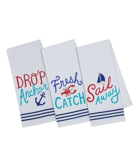 Design Imports Nautical Embellished Dish Towel Set Of Three Best Price And Reviews Zulily