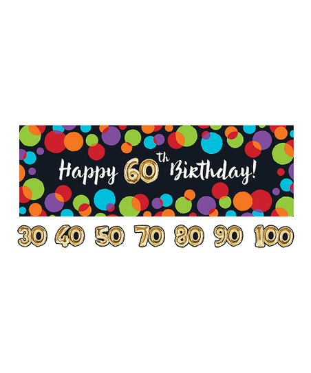 Happy 60th Birthday Balloon Party Banner