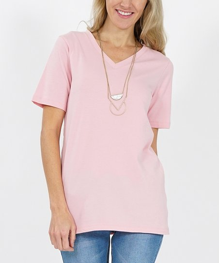 6a6aa805 love this product Dusty Pink V-Neck Tee - Women