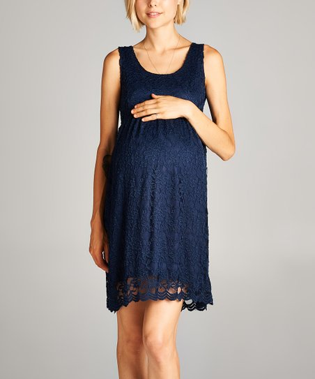 4c29d2def9e7f Hello Miz Maternity Navy Floral Lace Sleeveless Maternity Dress | Zulily