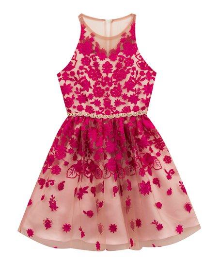 e33707c3edd Rare Editions Fuchsia Floral Embroidered Fit   Flare Dress - Girls ...