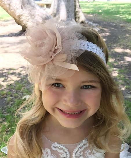 Precious Kids Champagne Floral Lace Headband  21bba61af2d