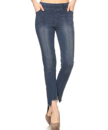 aa30367bdea17 love this product Blue Distressed-Cuff Denim Jeggings - Women