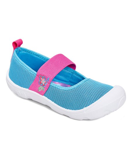 96e4b34c76f Newtz Pink   Blue Embroidered Mary Jane Water Shoe - Girls