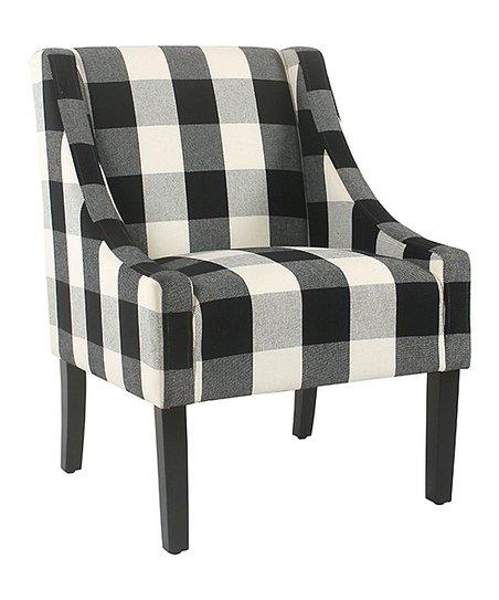 Groovy Homepop Black White Plaid Swoop Arm Accent Chair Creativecarmelina Interior Chair Design Creativecarmelinacom
