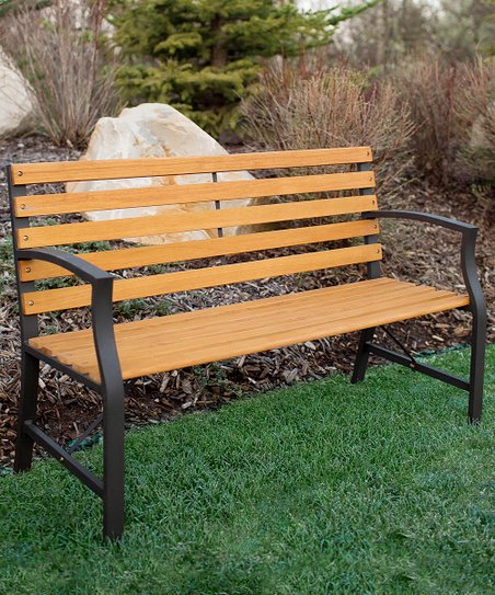 Walker Edison Outdoor Wood Metal Park Bench Zulily