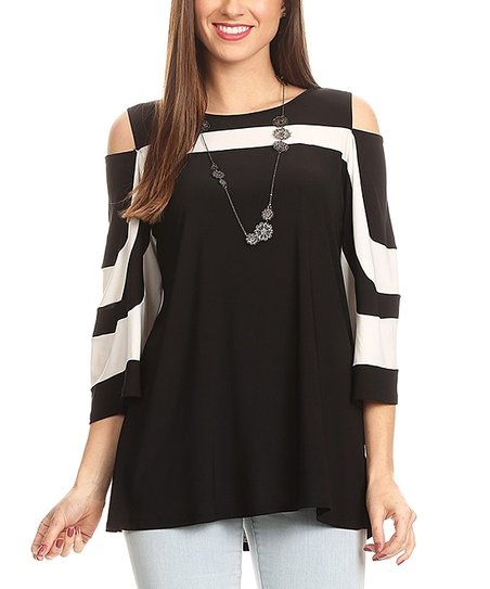 44f843603882 love this product Black & White Stripe Cold-Shoulder Top - Plus Too
