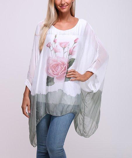 f42c758890fe1 LACONY Khaki Rose Silk Sidetail Top - Women