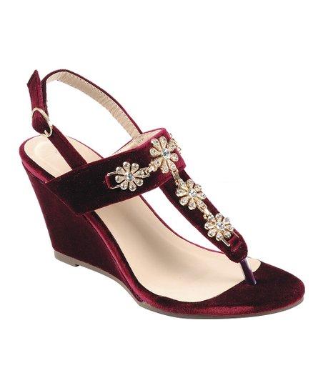 Burgundy Medallion Share Wedge Sandal Women Zulily