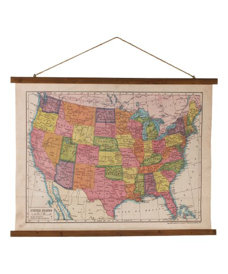United States Map Canvas Wall Art.Ganz Retro School Room Usa Map Rolled Canvas Wall Art Zulily