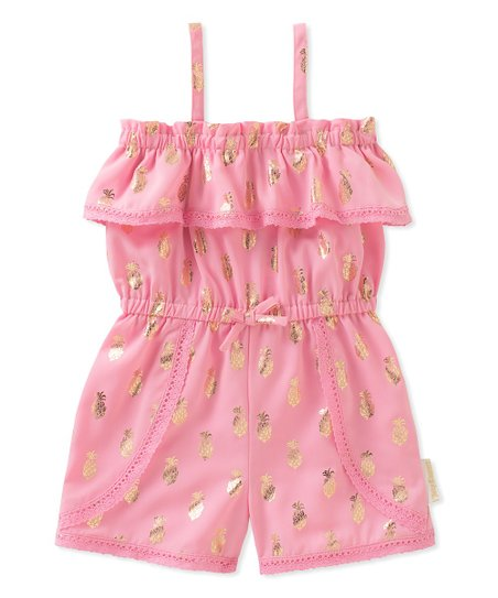 709cb4ac2f6 Juicy Couture Pink   Gold Pineapple Ruffle-Accent Romper - Girls ...