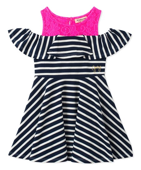Juicy Couture Navy   Hot Pink Stripe Shoulder-Cutout Dress - Toddler ... 08b58c7f92