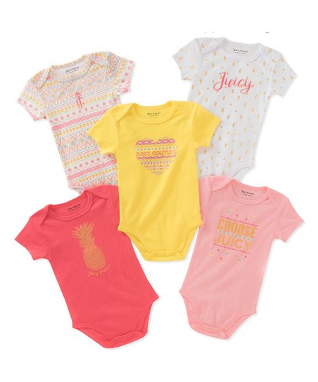 896867eef Juicy Couture Yellow & Pink Geometric Bodysuit Set - Newborn | Zulily